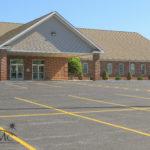 Church auditorium entrance in Goshen, Indiana