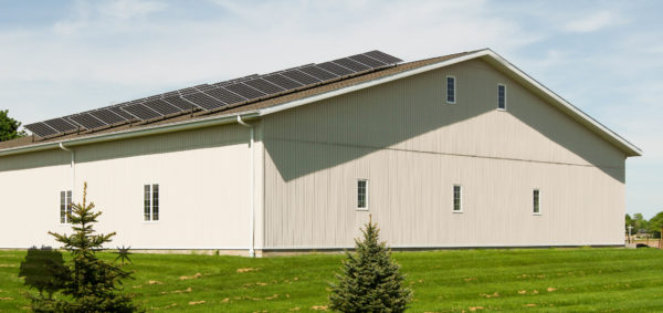 Storage shed with solar panels in Nappanee, Indiana
